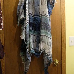 Madewell blue green plaid scarf